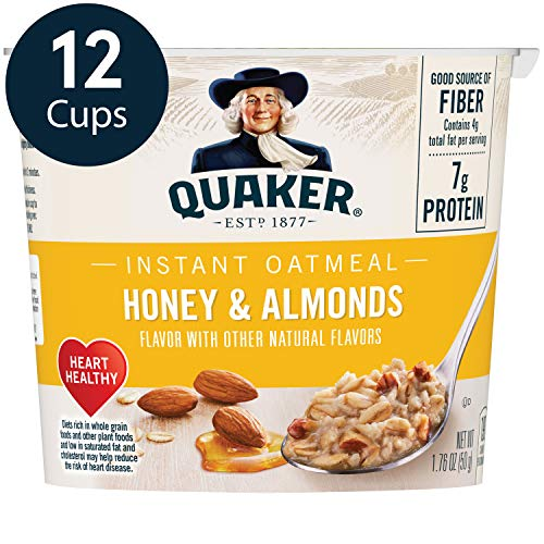 Quaker Instant Oatmeal Express Cups, Honey & Almonds, 12 Count