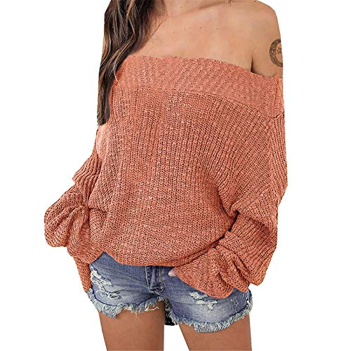 Exlura Women's Off Shoulder Batwing Sleeve Loose Oversized Pullover Sweater Knit Jumper - Light Orange, M/L (6/8/10)