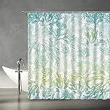 XZMAN Cortina de ducha de algas marinas océano náutico azul verde mar algas marinas ideal para elegante blanco moderno tela de poliéster decoración de baño set de 70 x 70 pulgadas incluye ganchos