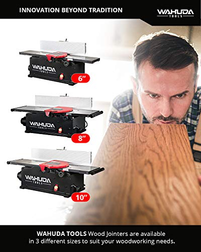 Wahuda Tools Jointer - 6-inch Benchtop Wood Jointer, Spiral Cutterhead Portable Jointer w/Cast Iron Tables & 4-Sided Carbide Tips & 10amp motor, Woodworking Tools for All Wood Types (50160CC-WHD)