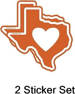 Heart in Texas Longhorn Burnt Orange Sticker | TX State Shaped Label | Apply to Mug Phone Laptop Water Bottle Decal Cooler Bumper | Austin UT Cowboy Rocket Texan Mavs 512 Ranger Astro Lone Star Spur
