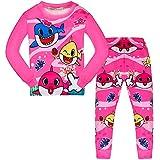 AOVCLKID Toddler Girls Baby 2 Pcs Pajamas Shark Cartoon Print Nightgown (Rose,110/4-5Y)