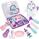 HERSITY Déguisement de Docteur avec Son et Lumière Kit Medecin Jouet Jeu D'imitation Mallette de Docteur Cadeau pour Enfant 3 Ans+