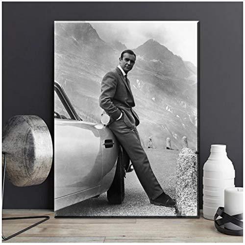 PDFKE Sean Connery 007 James Bond Goldfinger 1964 Goldfinger Directed Movie Art Print Poster su Tela per Decorazione murale -20x28 Pollici Nessuna Cornice 1Pz