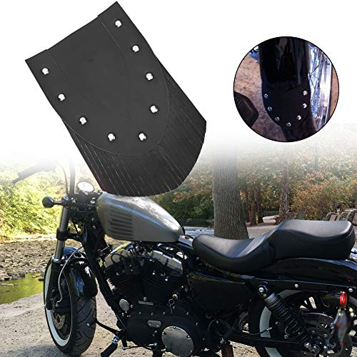 Rosvola Motorcycle Fender Mud Flap, Universal Leather Front Fender Mud Flap with Tassel Motorcycle Modification Accessories to Protect Your Tires (Black)