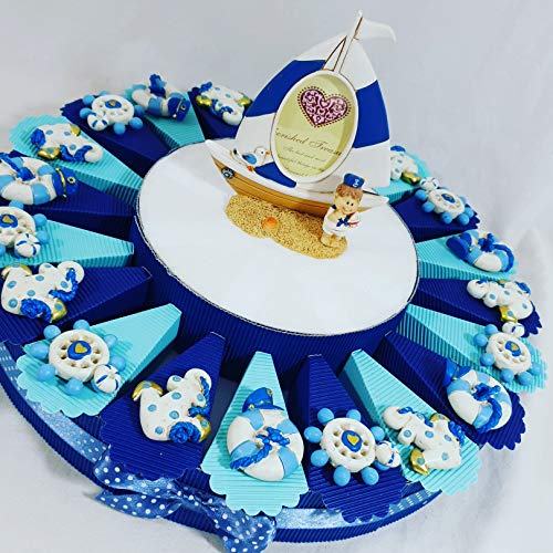 Torta bomboniera portaconfetti Battesimo Nascita Maschietto con Confetti crispo kkk * (Torta Marinaio magneti)
