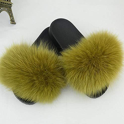 Coral Vaughan Tongs pour filles - Taille des chaussons anti-fourrure, pour femmes, chaussons en peluche, chaussons antidérapants en fausse fourrure - 39