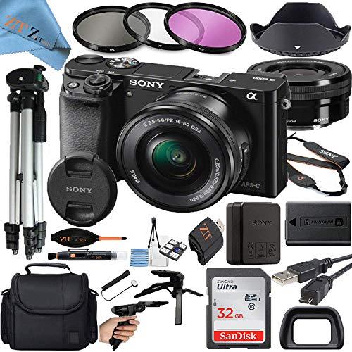 Sony Alpha a6000 Mirrorless Digital Camera with 24.3MP CMOS Sensor, 16-50mm Zoom Lens, SanDisk 32GB Memory Card, Gadget Bag, Tripod and ZeeTech Accessory Bundle (Black ILCE-6000L)