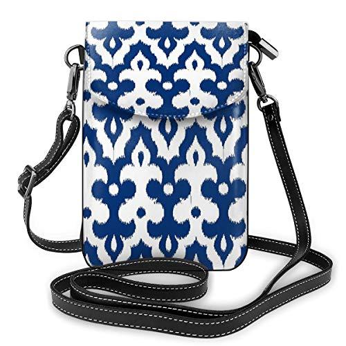 Marokkaanse Ikat Damask Kobalt Blauw En Wit Kleine Crossbody Tassen Crossbody Mobiele Telefoon Handtas - Vrouwen PU Lederen Handtas Met Verstelbare Band Voor Dagelijks Leven