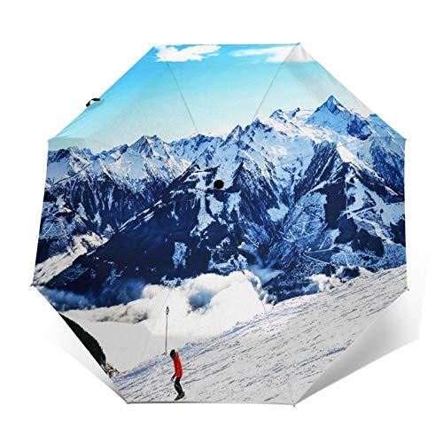 Regenschirm Taschenschirm Kompakter Falt-Regenschirm, Winddichter, Auf-Zu-Automatik, Verstärktes Dach, Ergonomischer Griff, Schirm-Tasche, Schnee Berg Ski