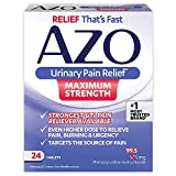 AZO Urinary Pain Relief Maximum Strength | Phenazopyridine Hydrochloride | Fast relief of UTI Pain, Burning & Urgency | Targets Source of Pain | #1 Most Trusted Brand | 24 Tablets