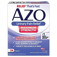 #1 MOST TRUSTED BRAND. Before you can see a doctor or until the antibiotic starts to work, relieve painful UTI symptoms FAST with over-the-counter urinary pain reliever AZO Urinary Pain Relief Maximum Strength DIRECTLY TARGETS SITE OF DISCOMFORT, so ...