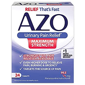 AZO Urinary Pain Relief Maximum Strength | Fast relief of UTI Pain Burning & Urgency | Targets Source of Pain | #1 Most Trusted Brand | 24 Tablets