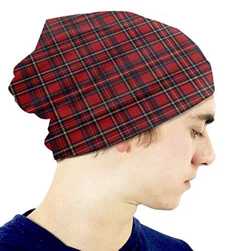 BGDFN Niño 'Novedad Sombrero Royal Stewart Tartan Beanie Chica Cálido Cráneo Sombrero de Punto Unisex Slouchy Soft Kid Cap Negro