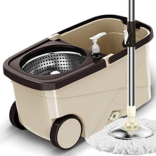 xinwan Suministros de Limpieza del Suelo SPIN SPIN - Acero Inoxidable Spinning Mop and Bucket con una casa de preparación, Automático Sin Lavado a Mano Fregona de Acero Inoxidable