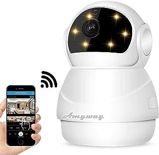 ネットワークカメラ wifi 小型 監視カメラ 1080P IP 防犯カメラ スマホで遠隔監視?操作 P2P 警報機能 暗視撮影 動体検知 双方向音声 ベビーモニター 子供 見守り 老人等留守番 スマホ iPhone/iPad/パソコン 日本語説明書付き