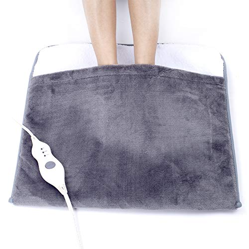 Electric Heated Foot Warmers for Men and Women Foot Heating Pad Electric with Fast Heating Technology Heating Pad Feet Warmer Auto Shut Off with 3 Temperature Setting by Gintao 22×20 inches Gray