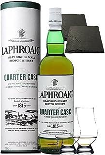 Laphroaig Quarter Cask Islay Single Malt Whisky 0,7 Liter  2 Glencairn Gläser  2 Schieferuntersetzer quadratisch ca. 9,5 cm