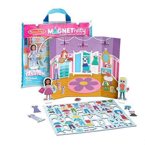Melissa & Doug 102-Piece MAGNETIVITY Magnetic Dress-Up Play Set  Dress & Play Fashion (2 Play Figures, 99 Accessory Magnets)