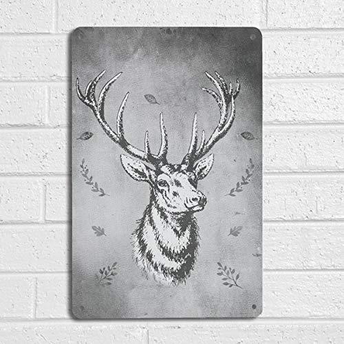 Pintura de hierro para interiores y exteriores, estilo vintage, diseño de ciervo, color gris