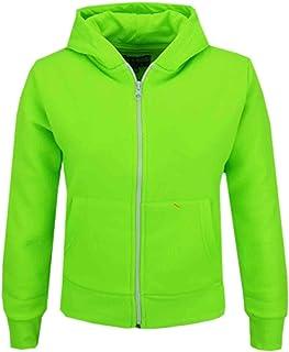 Kids Girls & Boys Unisex Plain Fleece Hoodie Zip Up Style Zipper Age 5-13 Years