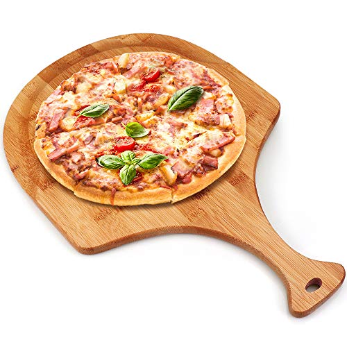 Bamboo pizza peel, Wood Serving Pan, Cheese and Charcuterie Boards, Pizza Board Pizza Paddle Cutting Board with Handle for Baking Pizza, Bread, Cutting Fruit, Vegetables, Cheese and Serving board