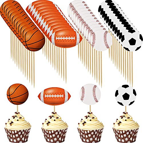 48 Pieces Sports Cupcake Toppers Basketball Football Baseball Rugby Cake Toppers Decoration Sports Themed Party Picks Cupcake Top Hat Decor for Kids Boys Girls Men Birthday
