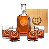 Personalized Whiskey Decanter Set for Men - 9 Design Options - Engraved Liquor Decanter Sets with...