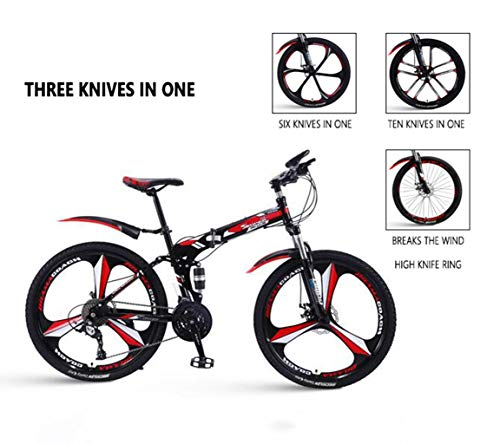 Gaoyanhang 26-inch Mountain Foldable Bicycle, Thickened high-Carbon Steel Frame, Double disc Brake System (Color : Red, Size : 24)