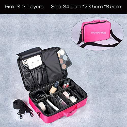Trousse De Voyage Femmes Mode cosmétique Sac Maquillage Voyage Organisateur professionnel Make Up Box cosmétiques Sacs Pochette de beauté cas for Maquilleur (Color : Pink S 2 Layers)