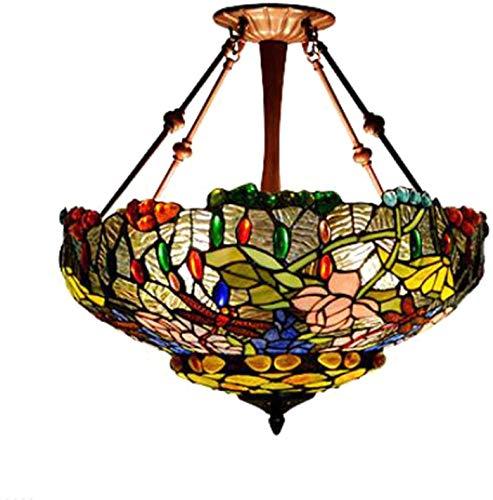 MQJ Lámpara colgante E27 con 3 luces para sala de estar con pantalla de cristal manchado de 23 pulgadas, luz de techo retro para dormitorio, comedor, 3 luces