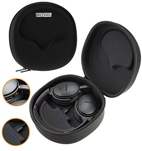 Broonel Kopfhörer Schutztasche Fallbeutel Aufbewahrungstasche Tasche/Case mit Powerbank 2500 mAh für Noontec Zoro Wireless Bluetooth 4.0 On-Ear Headphones