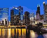 xinyouzhihi DIYPintarpornúmerosPaisaje Urbano de Chicago Set de Bricolaje para Pintar con Pinceles Y Pinturas Decoraciones para El Hogar40x50cm(SinMarco)