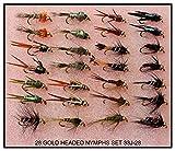 28 Braun Forelle / sche Fliegen Fischen Fliege GOLD KOPF NYMPHEN 33J-28 FR