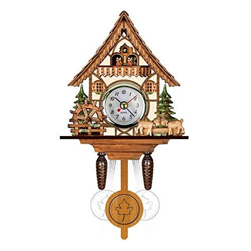 Watkings antieke houten koekklok, Bird Time Bell Swing wekker Home Art Decor