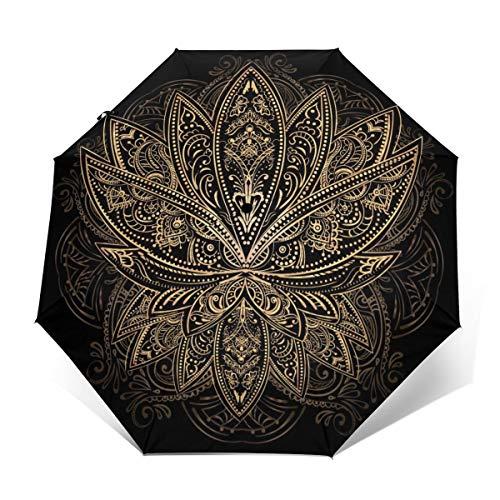 The Golden Lotus Tattoo-Regenschirm, winddicht, automatisches Öffnen/Schließen, kompakter faltbarer Regenschirm Außenprint Einheitsgröße