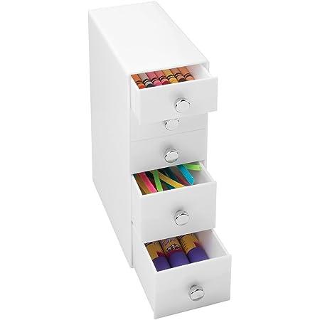 mDesign boite-tiroir blanche - mini commode à tiroir polyvalente – boite de rangement pratique à 4 tiroirs