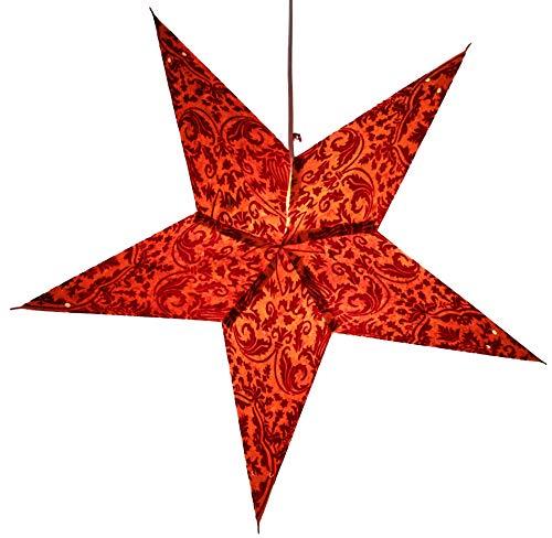 Guru-Shop Faltbarer Advents Leucht Papierstern, Weihnachtsstern Nemesis, Orange, Farbe: Orange, 60x60x15 cm, Star Fensterdeko, 5 Spitzen
