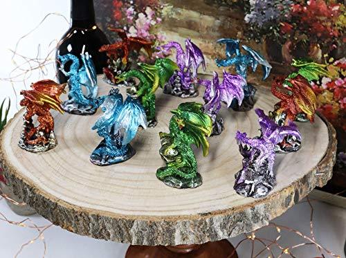 Ebros Gift Set of 12 Colorful Metallic Red Green Purple Blue Wyvern...