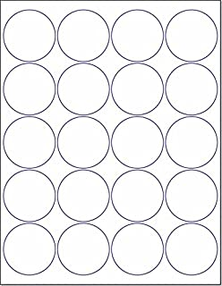 """Laser/Ink Jet White Labels (2"""" Round - 20 Per Page   500 Labels)"""