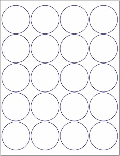 """Laser / Ink Jet White Labels (2"""" Round for Printing with NO BLEED - 20 Per Page   500 Labels)"""