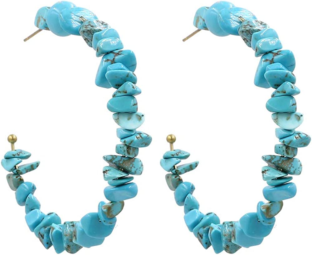 Turquoise Beaded Hoop Earrings for Women - Handmade Stone Beads Open Hoop Earrings Holiday Summer Jewelry Gift for Girls Ladies
