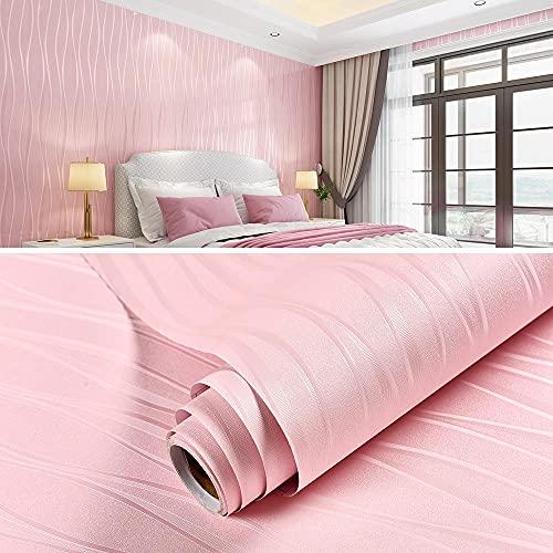xiaoshun Papel Tapiz de Pared Fondo de Pantalla de Papel Autoadhesivo Papel Pintado de Color sólido Dormitorio Dormitorio Fondo de Pantalla Inicio-0.6 * 20m_Pétalos Rosados