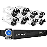 【16CH Expandable】 SMONET 5MP Lite Security Camera System,Wired Surveillance System Indoor Outdoor 1TB Hard Drive,8x1080P IP66 Waterproof Home CCTV Cameras,DVR Kits,Easy Remote,Night Vision,Playback