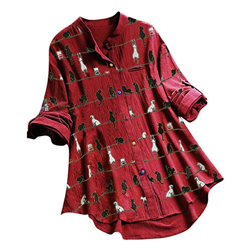 JoJody T Shirt - Camisa de mujer con cuello en V y mangas curvadas de algodón y lino con botones vintage de gato estampado, estilo casual De vino. M