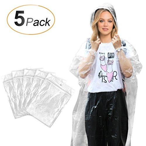 AGPTEK Regenmantel Regenponcho Cape mantel mit Kapuze Einweg Transparent Atmungsaktiv Damen Herren Regencape für Festival Konzert Spielplatz Fahrrad Wandern, PE, 5 Stücke