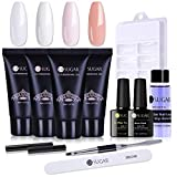 UR SUGAR Poly Nail Extension Gel French Manicure Kit 30ml Clear White Color Gel Builder with Slip Solution Base Gel Top Coat for Nail Salon Design All-in-One French Kit Easy DIY at Home