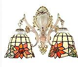 Lámpara industrial, Tiffany Style Wall Light Lámpara Retro Mediterráneo Mosaico Europeo Lámpara de pared de girasol color pintado Lámpara de vidrio E27 Cabeza doble Hierro forjado Proceso hecho a mano