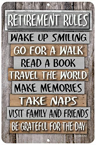 Dyenamic Art Retirement Rules Metal Sign Retirement Gift 8x12 Indoor/Outdoor Home Decor Aluminum Sign Easy Hanging Made in USA