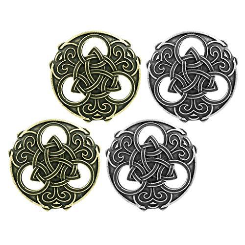 menolana 4 Pack Vintage Viking Shield Brooch Medieval Viking Celtic Hollow Cloak Sweater Pin Brooch Clasp Jewelry